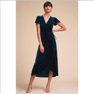 BHLDN Thrive Velvet Wrap Midi Dress Teal Blue XS